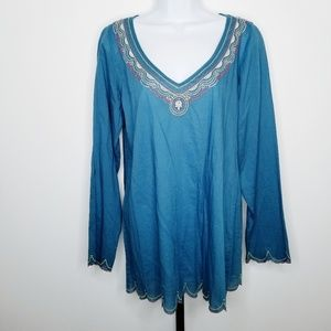 Lucky Brand Embroidered Blue Long Sleeve Tunic Top